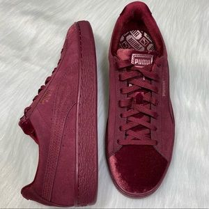 Womens Puma Suede Velvet Sneakers Shoes Flatform